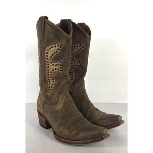 Frye Daisy Duke Cowboy Boots Leather Snakeskin